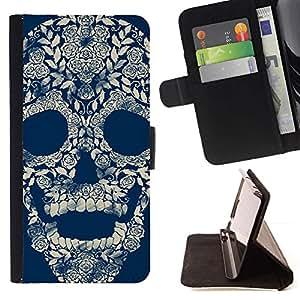 Momo Phone Case / Flip Funda de Cuero Case Cover - Floral retro del cráneo Blue Rose - Sony Xperia Z1 L39