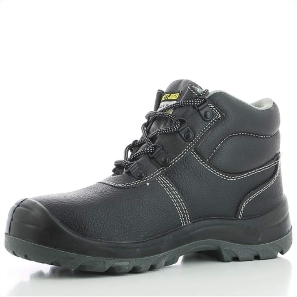 SAFETY BOOT WITH STEEL TOE CAP - WORK SHOE FOR MEN OR WOMEN, BLACK LEATHER