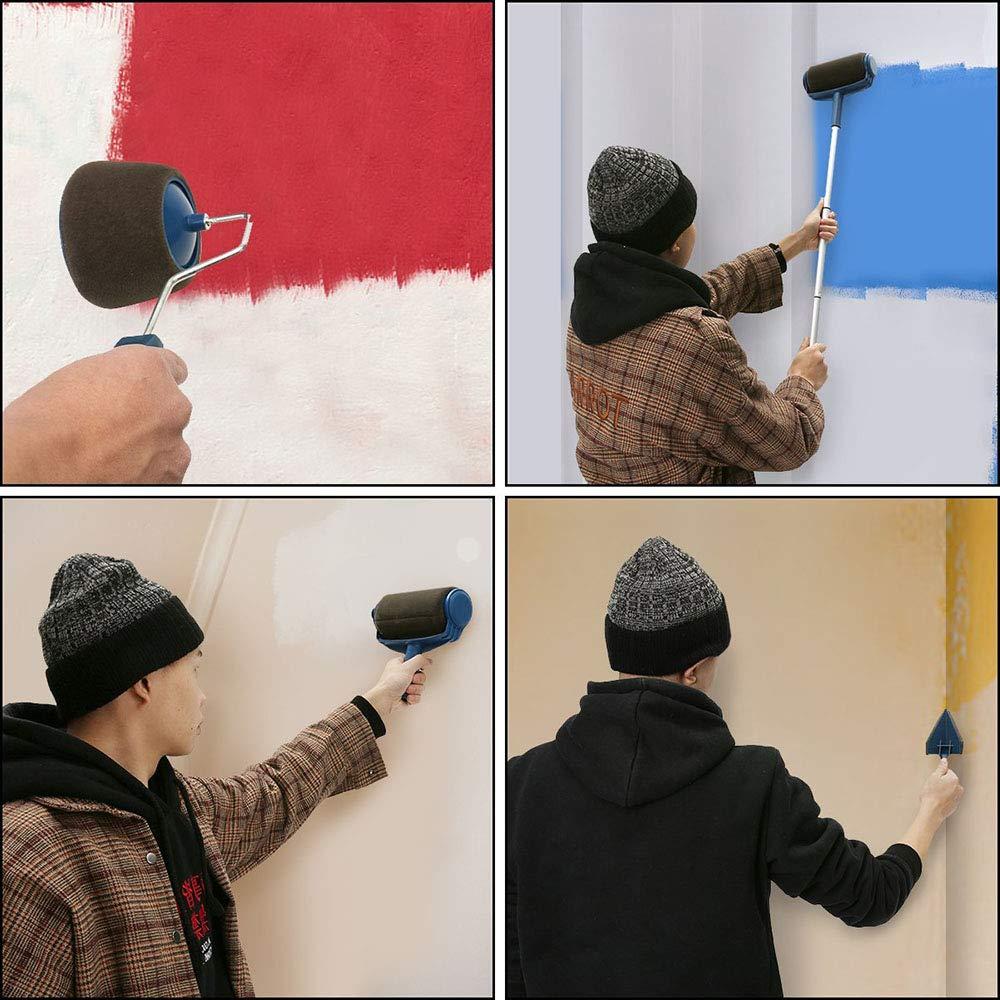 Pro Paint Runner Brush Handle Tool Flocked Edger for Home Office Room Tool 9 Pcs Paint Brush Roller Kit