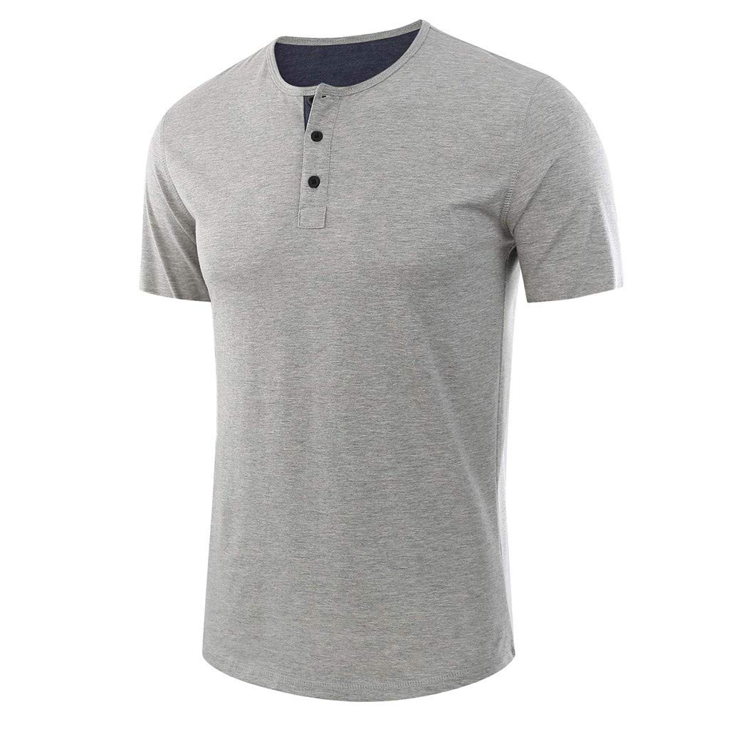 YKARITIANNA Fashion Men's Baggy Solid Short Sleeve Button O-Neck T Shirts Tops Blouses 2019 Summer Hot Sale