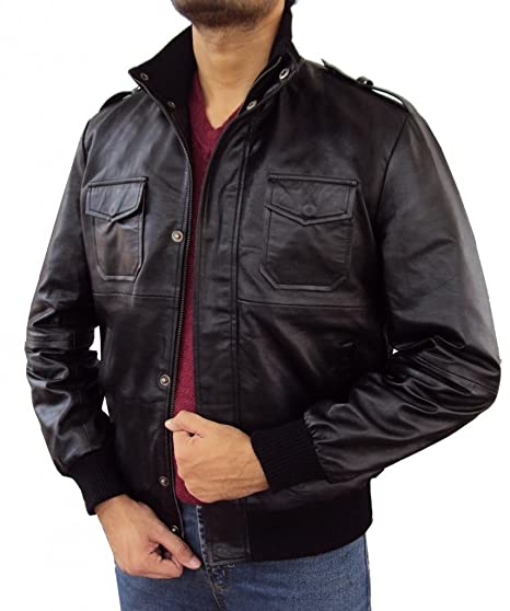 604031747 The Leather Factory Men's Lambskin Black Leather Bomber Jacket With ...