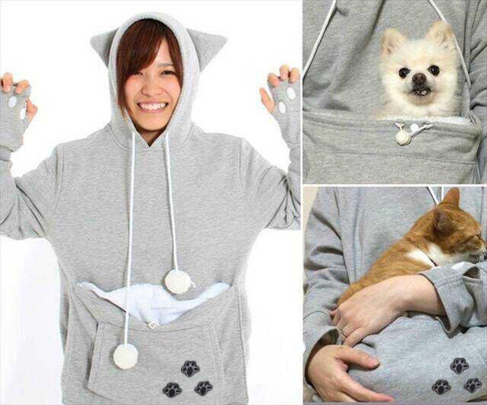 Xyfushi Mewgaroo Hoodie Nyangaroo for Cat & Dog (Small, Gray)