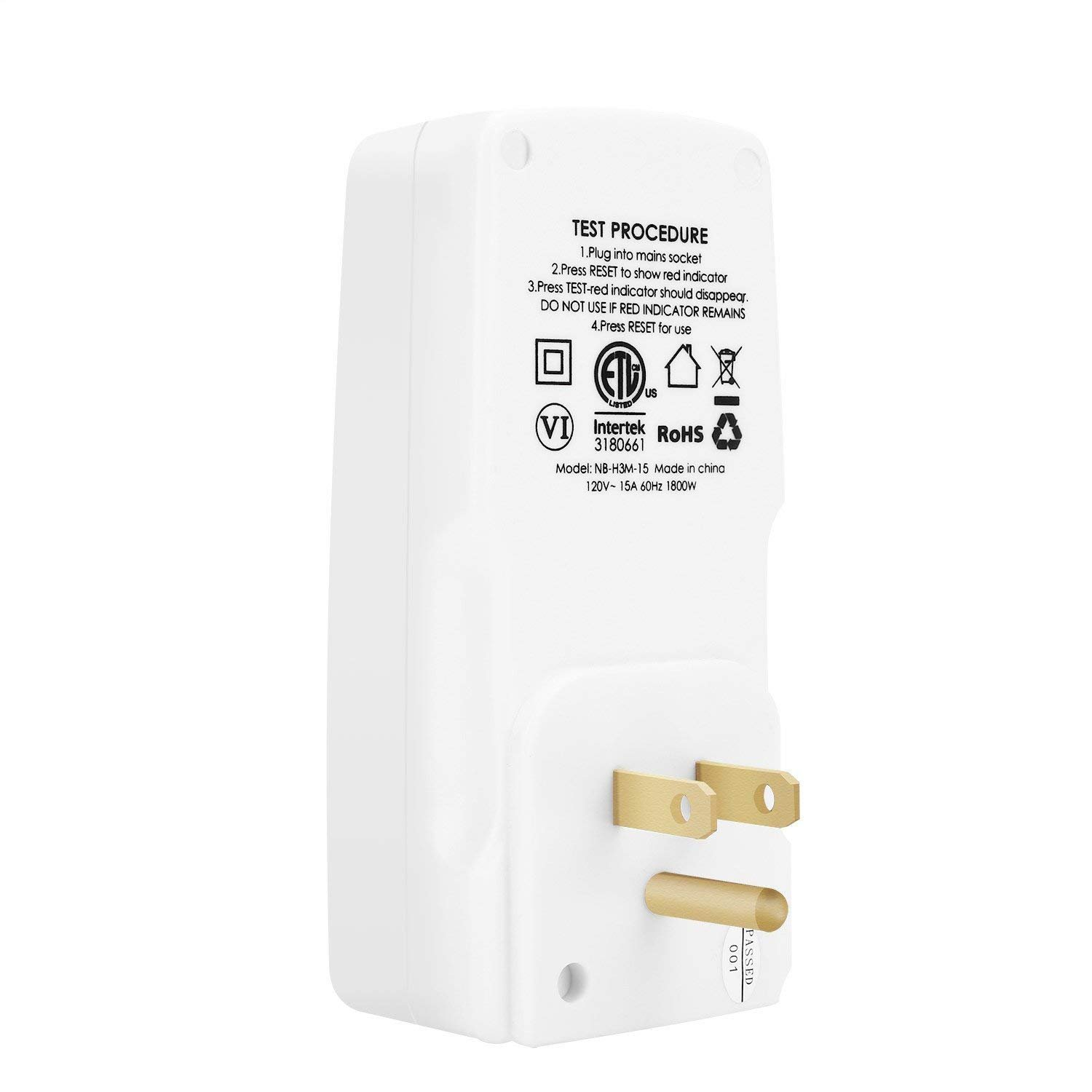 Aneken Gfci Outlet Rcd Adapter Portable Leakage Protection Breaker Ground Fault Circuit Interrupter W Two 15 A 15amp In For Household Devices To Protect Electric Safety