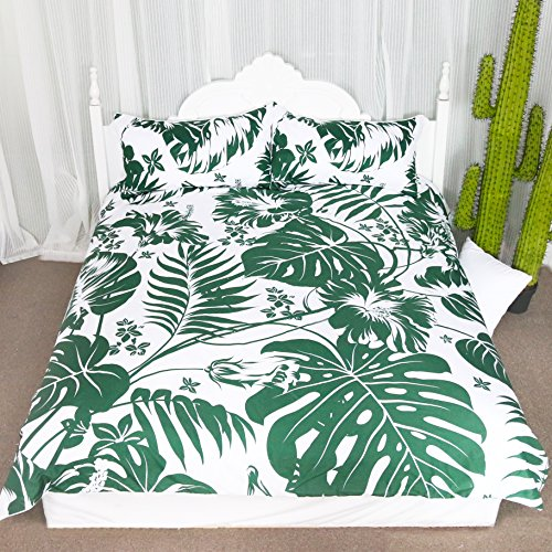 Fancy Foliage 20 Piece (3 Pieces Lightweight Microfiber Duvet Cover Set Monstera Deliciosa Hawaiian Island Tropics Leaves Bedding sets (Twin))