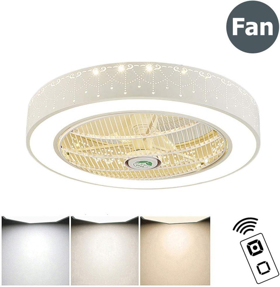 ZMLG LED Ventilador de Techo con Luz Y Mando A Distancia, Silencioso Ventilador Lámpara de Techo Habitación de Niños 3 Velocidades Ajustable Dormitorio Ventilador Luz,Ø:60xh:24cm