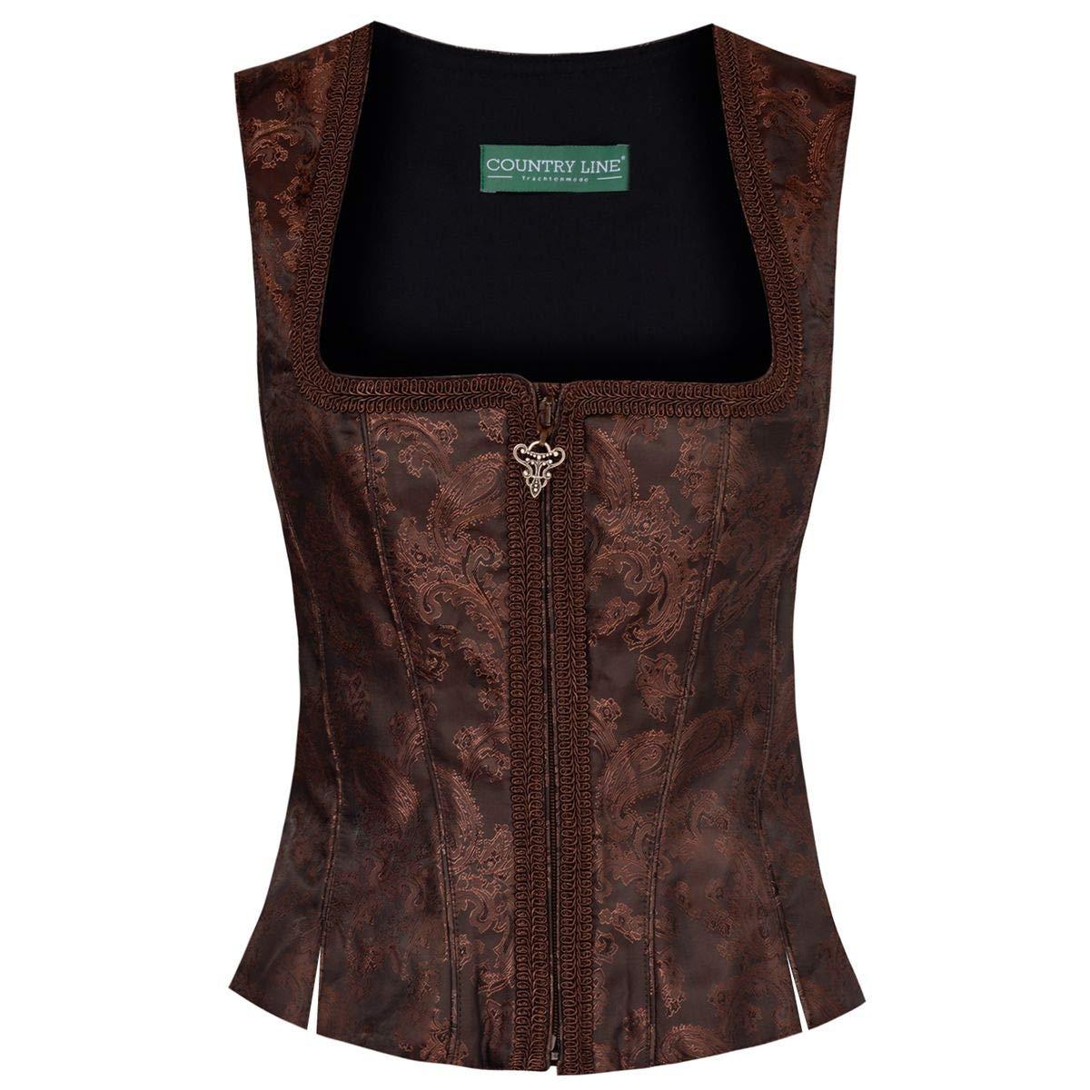 Country Line Damen Trachten-Mode Mieder Elvira in Braun Traditionell Größe:32 Farbe:Braun