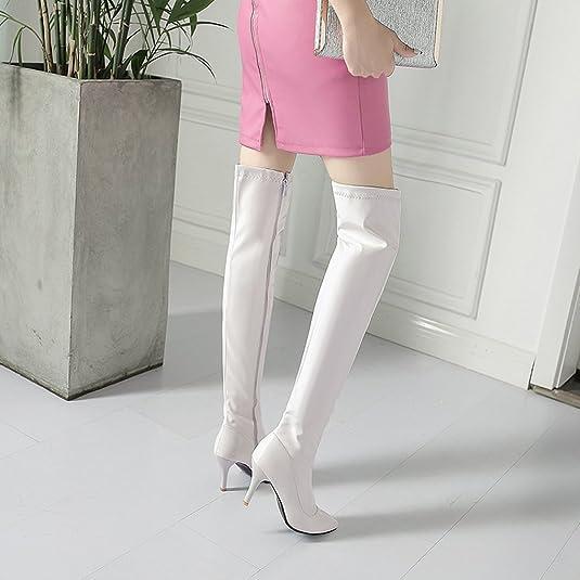 3181aff53301 OALEEN Bottes Cuissardes Femme Sexy Vernis Talon Haut Aiguille Bout Pointu  Hiver Impermeable  Amazon.fr  Chaussures et Sacs
