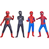 Spider-Man: Far From Home スパイダーマン:ファー・フロム・ホーム スパイダーマン SPIDER-MAN 風 全身タイツ クロ 黒 アカ 赤 コスプレ衣装 cos cosplay ハロウィン コスチューム アニメ 変装 仮装 子供用 大人用 (110#, デザイン4)