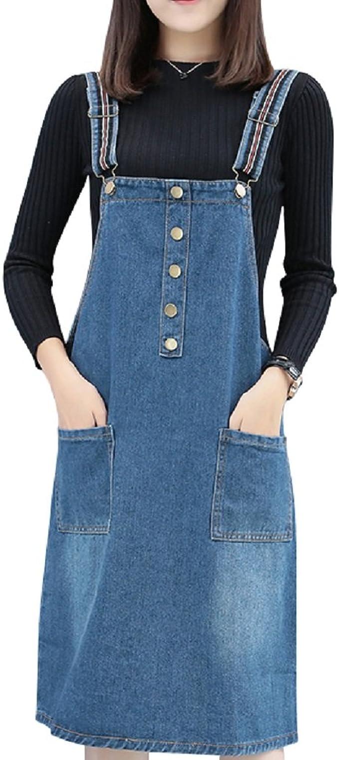 ACE SHOCK Denim Suspender Skirt Women Knee Length, Jeans ...