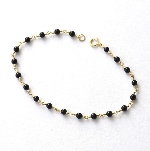 9d0a2e880890d0 Image Unavailable. Image not available for. Color: 14K Gold. Black Onyx  Bracelet ...