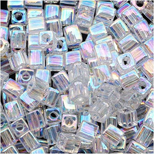 Crystal Cube Beads - Miyuki 4mm Glass Cube Beads Crystal Clear AB #250 10 Grams