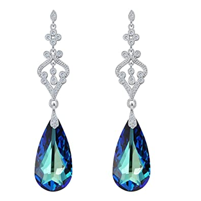 Clearine Women's 925 Sterling Silver Wedding Bridal Hoop Baroque Hook Earrings Adorned with Swarovski Crystals Aquamarine Color 7WbUJ