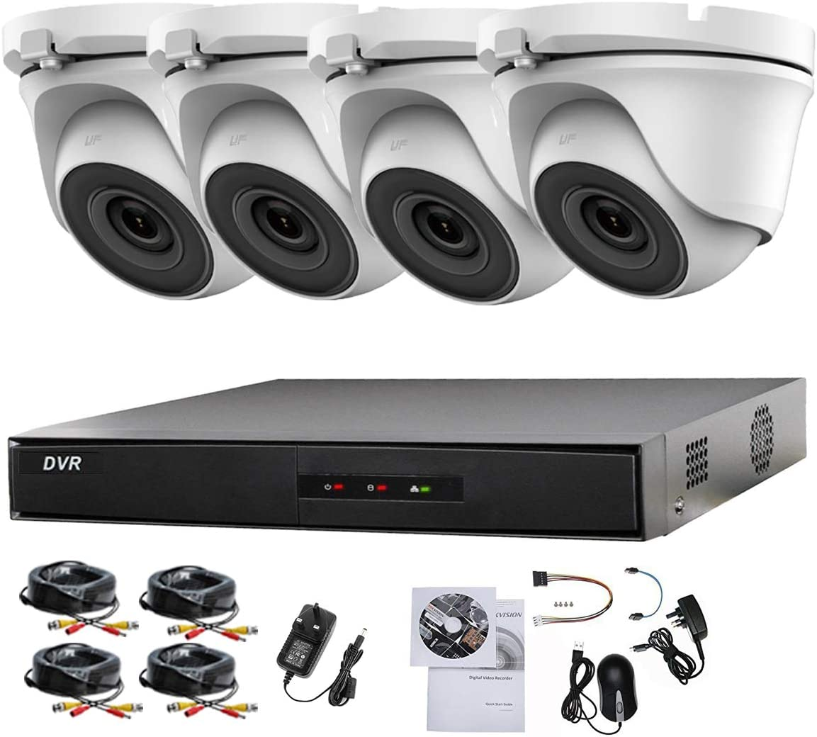 HIKVISION 4CH CCTV Kit DVR 1080P & 4X 2.0MP Full HD 1080P Blanco Cámara CCTV IR 20M Noche Vision Remote View Easy P2P Sistema de cámara de Seguridad
