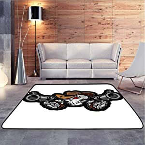 Soft Carpet Skull Cowboy Targets Shooting with The Guns Wild West Scary Illustration Art Brown Extra Soft and Comfy Carpet for Residential or Commercial Use, 4 x 4 Feet