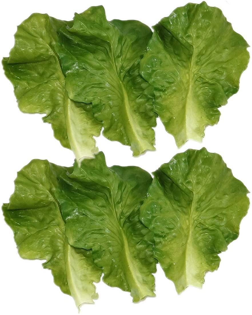 Nice purchase 6pcs Simulation Green Lettuce Leaves PVC Material Fake Vegetable Model Kitchen Artificial Foods