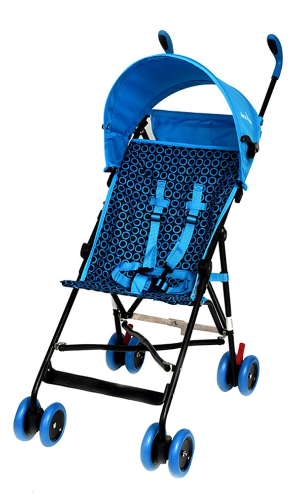 Lightweight Stroller, WonderBuggy Umbrella Baby Stroller with Canopy Fast Fold Compact 5-Point Safety, Blue