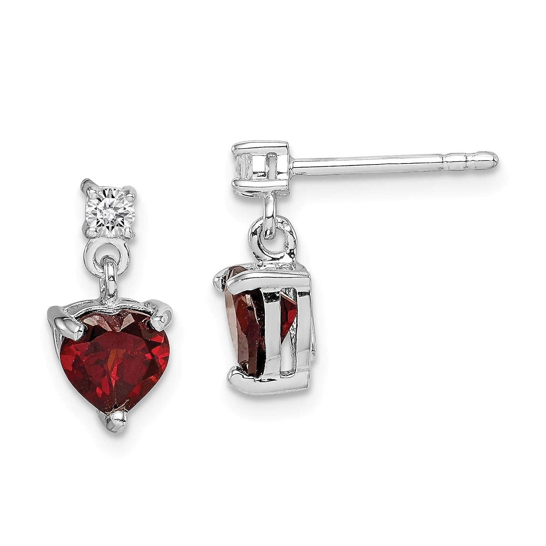 925 Sterling Silver Rhodium-plated Polished Heart Garnet /& White Topaz Dangle Post Earrings