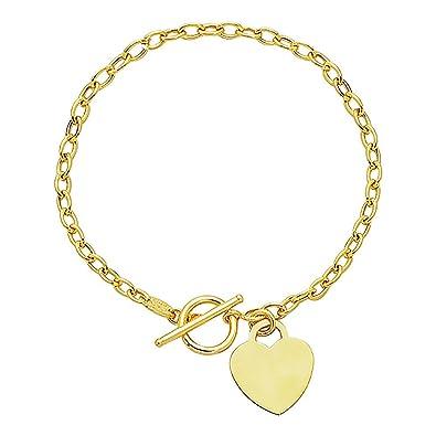 Amazon com: Ritastephens 14K Solid Yellow Gold link Toggle Bracelet