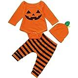 Infantil Disfraz Halloween Fossen Recien Nacido Niña Niño Bebe Monos de Calabaza Tops con Sombrero de Raya + Sombrero