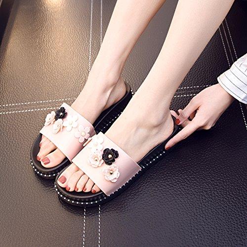 deslizamiento hogar 39 plástico encantador fresco Luz zapatillas zapatillas el anti para Señoras 38 suave elegante cubierta Fankou de gruesas planas de verano Rosa PRYwO8q