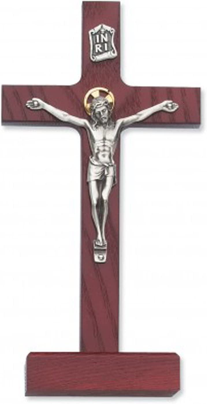FengMicon Wood Standing Religious Cross with Crucifix 9 Inch