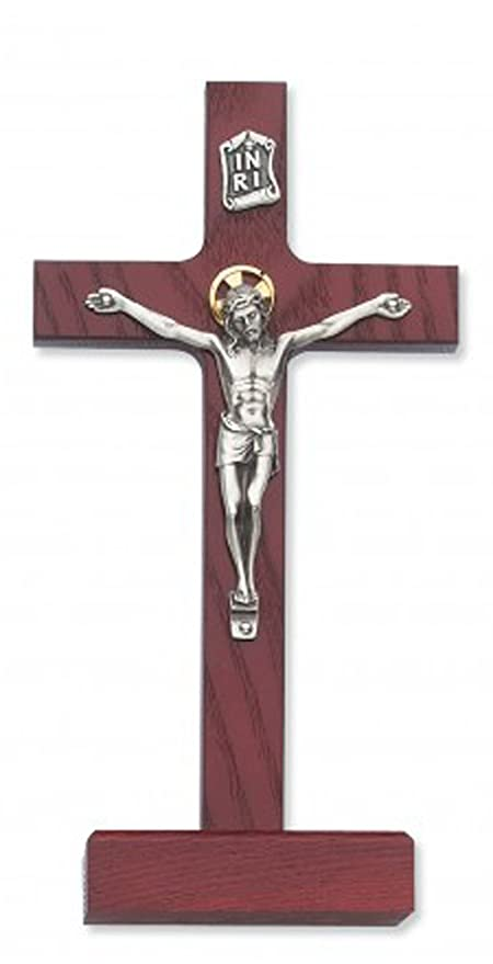 Amazon 8 Inch Cherry Stain Standing Crucifix Dcor Christian