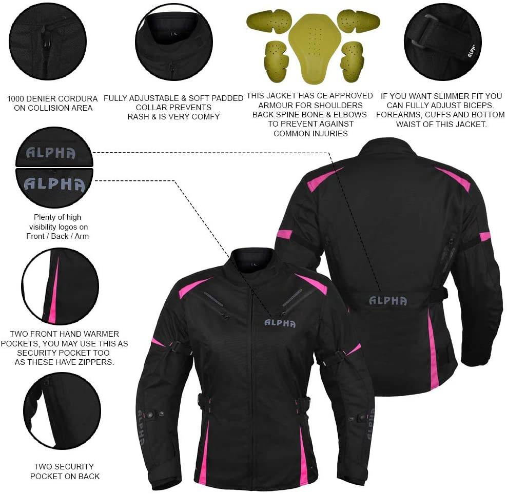 ALPHA CYCLE GEAR ALL SEASON WOMEN MOTORCYCLE JACKET WATERPROOF RIDING WITH CE ARMOUR BLACK//PINK, 3X-LARGE