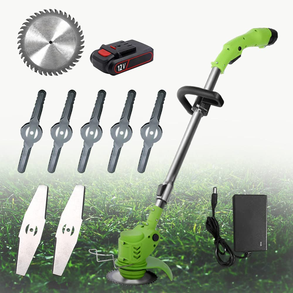 Strimmer Cordless 21V Garden Strimmer Grass Trimmer Lawn Edger with 3 Kinds of Blades Telescopic Cordless Strimmer with 2 Battery and Charger for Garden Cutting Grass Lawns and Farmland,12v
