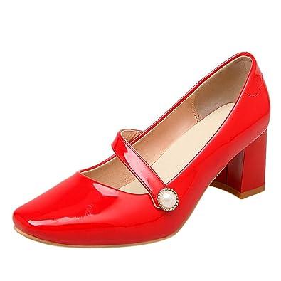 Mee Shoes Damen chunky heels instep strap Klettband Mary Jane Halbschuhe