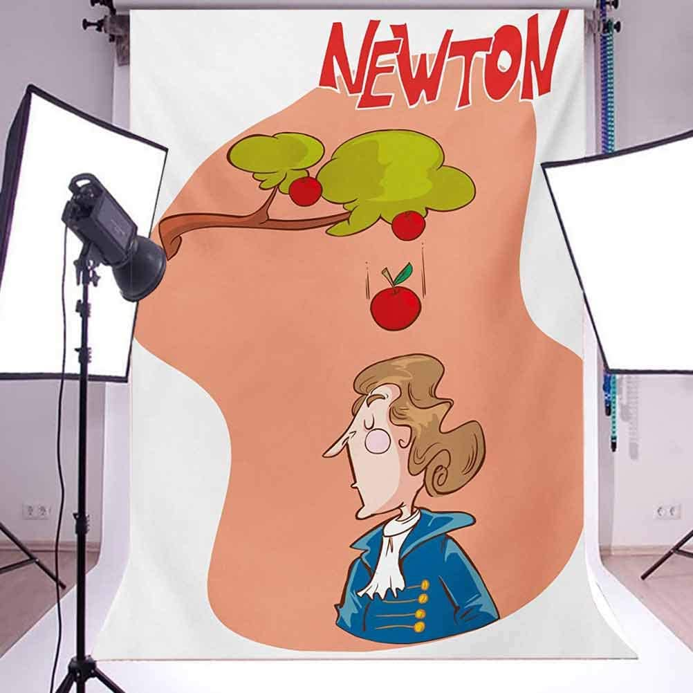 Educational 6x8 FT Photo Backdrops,Cute Isaac Newton Sitting Under an Tree Revelation History Funny Cartoon Background for Photography Kids Adult Photo Booth Video Shoot Vinyl Studio Props Multicolor