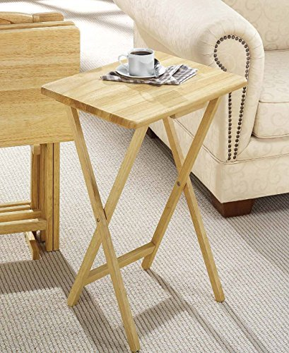 PJ Wood Folding TV Tray & Snack Table - Natural