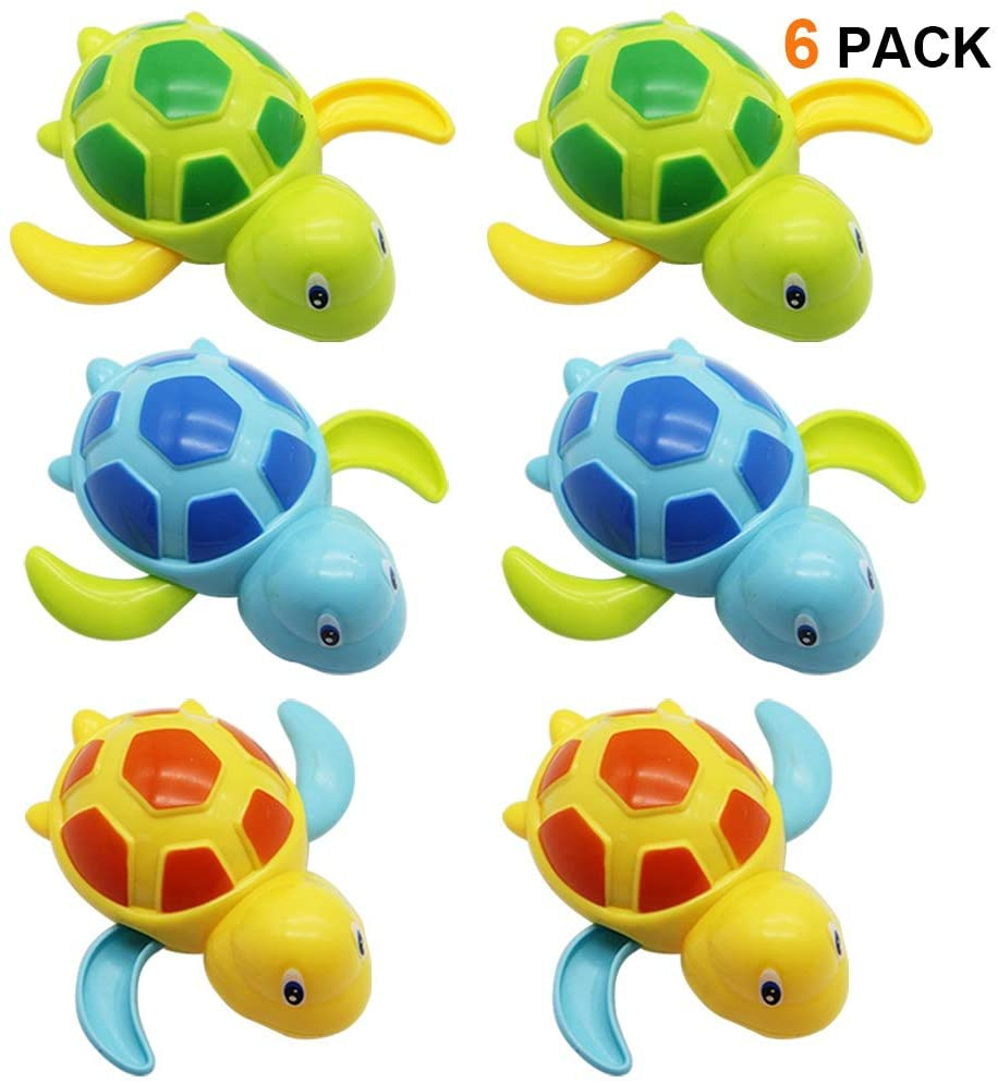 Amazon Com Happy Trees 6 Pcs Bath Turtle Toy Wind Up Swimming Turtles Bathtub Turtle Water Toy For Baby Toddler Toys Games