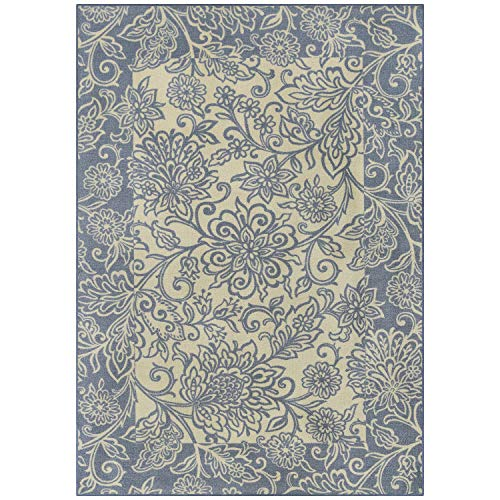 Maples Rugs Area Rugs - Adeline 5 x 7 Non Slip Large Rug [Made in USA] for Living Room, Bedroom, and Dining Room, Blue