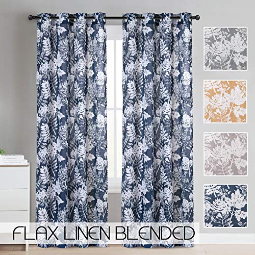 Printed Linen Blended Curtains for Bedroom Window Treatment Linen Drapes 84 inch Long Grommet Top Flower Navy Blue Leaf Print Design Vintage Living Room Curtain Panels (Navy, 84 inch Long, 1 Pair) -