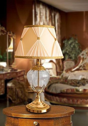 Paralumi In Vetro Per Lampade Da Tavolo.Lampada Da Tavolo Classica Vetro Murano E Ottone Lume Con Paralume