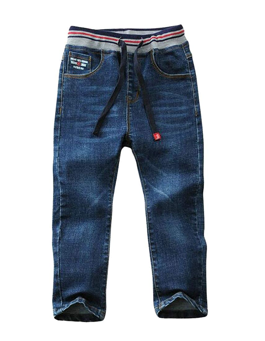 Pandapang Boys Drawstring Jeans Vogue Denim Stretch Cute Pants