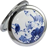 KOLIGHT Chinese Landscape Flower Bird Portable Foldable Pocket Metal Makeup Compact Mirror Woman Cosmetic Mirror