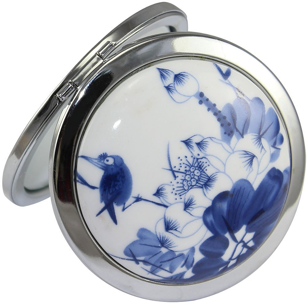 KOLIGHT Chinese Landscape Flower Bird Portable Foldable Pocket Metal Makeup Compact Mirror Woman Cosmetic Mirror