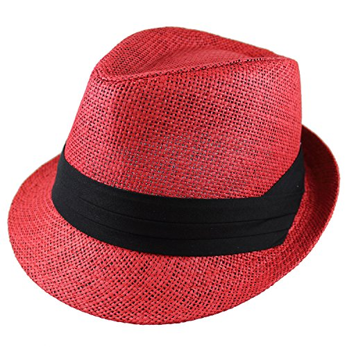 Gelante Summer Fedora Panama Straw Hats with Black Band M215-Red-L/XL]()