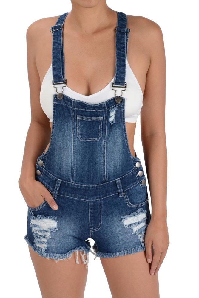G-Style USA Women's Ripped Cut-Off Short Overalls RJSO608 - BLUE - Large - CC7C
