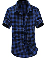 Rovinci_Mens Shirt Checked Short Sleeve Slim Fit Shirt Plaid Button Down Casual Shirt Lattice Painting Large Size Short Sleeve Casual Top Blouse Shirts