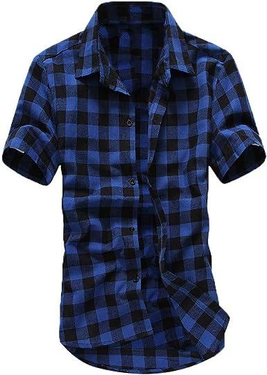 Camisa Hombre Verano Manga Corta Impresión a Cuadros Camiseta Moda Original Casual Suelto T-Shirt Blusas Camisas Camiseta Cuello en v Suave básica Camiseta Polo Top vpass: Amazon.es: Ropa y accesorios