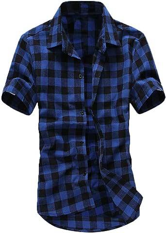 Mens Trendy Lattice Shirt Balakie Double Pocket Button Down Plaid Blouse Tops
