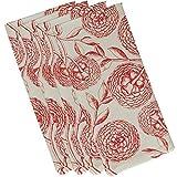 E by design Antique Flowers, Floral Print Napkin, 19 x 19'', Coral