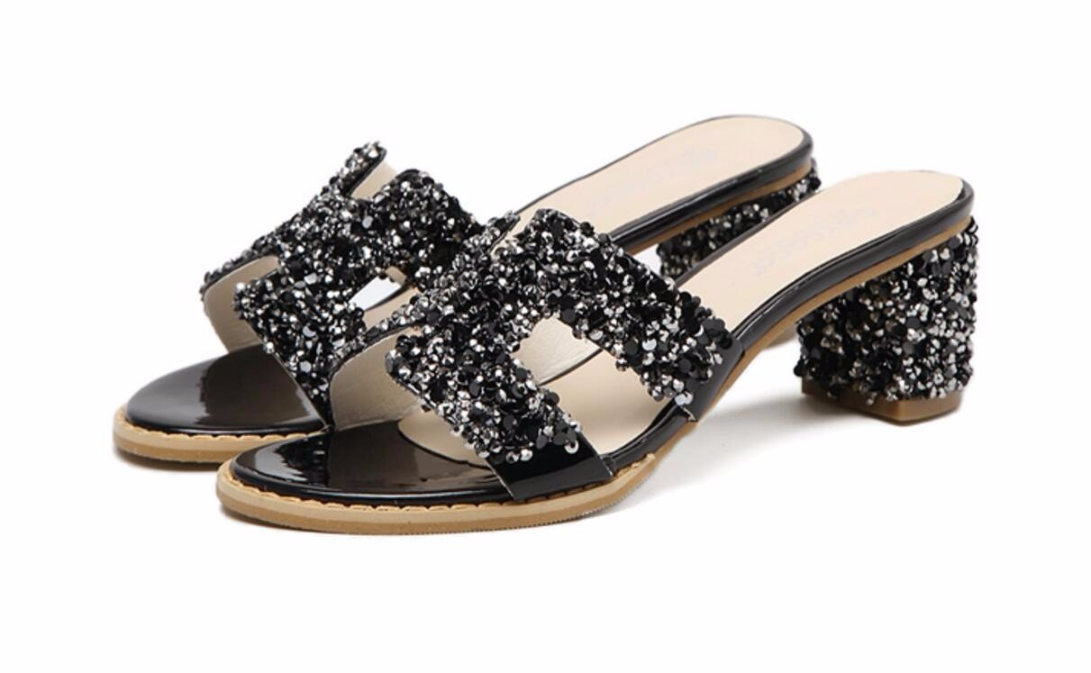 HBDLH Damenschuhe/6 cm High Heels Wasser Läuft Cool Hausschuhe Frauen Sommer Outdoor - Mode Tragen Rau Beach - Schuhe.