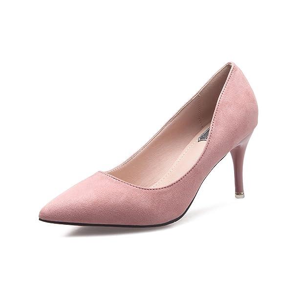 Unbekannt Damen Pumps Elegant Spitz Zehen Atmungsaktives Nubukleder Rutschfest Modische OL Schuhe Brautschuhe Pink 35 EU A8N0hc