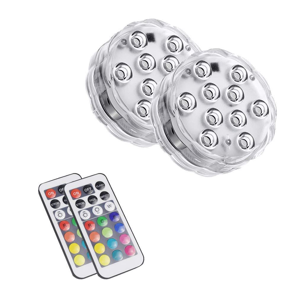Lumi/ères submersibles /à LED avec t/él/écommande sous-marine multicolore aquarium lumi/ères /étanche batterie aliment/é bain /à remous lumi/ère pour fontaine int/érieure cascade aquarium 2pcs