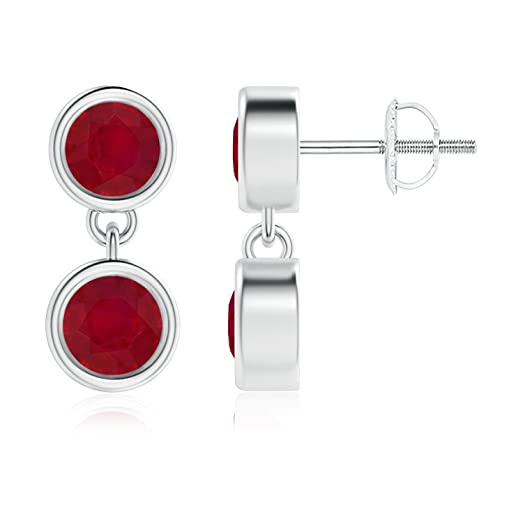 Angara Dangling July Birthstone Ruby Earrings in in Platinum nwfBde1