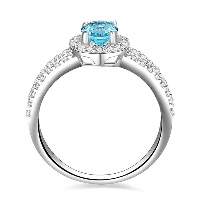 Blisfille Joyas Anillo Compromiso Azul Anillo de Round Anillos de Compromiso Diamantes Anillo de Plata de Ley 925,Blanco Oro del Tamaño 6,75-25: Amazon.es: ...