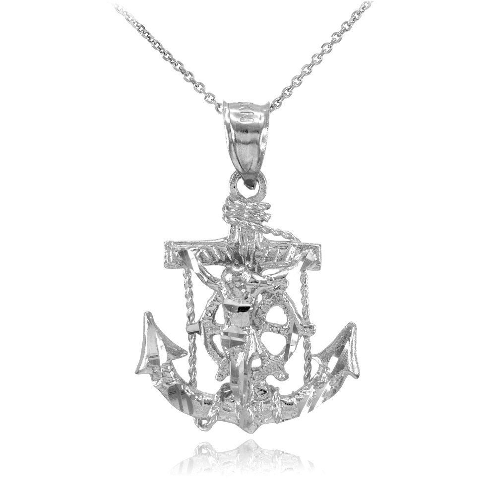 Men's Fine Jewelry 925 Sterling Silver Mariner's Cross with Crucifix Pendant Necklace, 22''